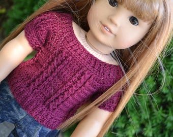 18 inch Doll Clothes - Crocheted Cable Sweater - Raspberry  - MADE TO ORDER - fits American Girl