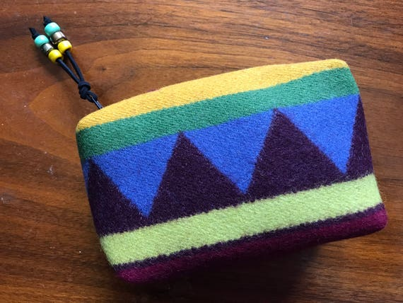 Cosmetic Bag / Makeup Bag / Zippered Pouch Small Wool