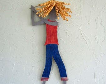 Metal Wall Art Lady Golfer Sculpture Blonde Golfing Wall Decor Sports Figure Hot Pink Red Orange Blue Female Athlete 8 x 21