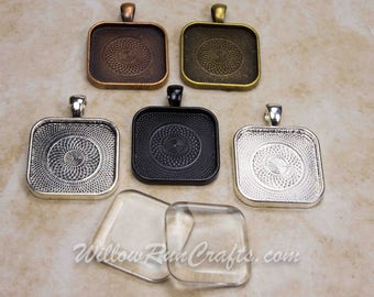 20 pcs 25mm Square Pendant Trays with Rounded Corners, Antique Bronze, Antique Copper, Black, Ant Silver, and Silver Plated