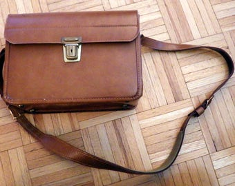 Vintage 1960s Leather Carry All - Camera Bag - Brown Leather -