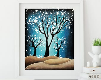 Tree Print, Night in the Woods, Night Sky Print, Woods Wall Art, Night Sky Art, Tree Wall Art, Starry Night, Nature Lover Gift