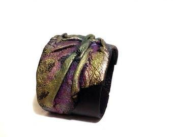 40% OFF SALE Leather cuff bracelet. Bright leather bracelet. Leather jewelry