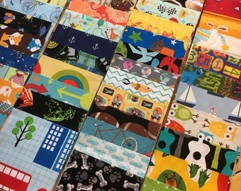 100 5 inch quilt squares - charm pack - Great for I Spy or rag quilt kit - Gender Neutral / Boy prints - LOT A