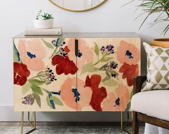 Pink Poppies Credenza