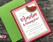 Watermelon Birthday Party Invitations · A2 LAYERED  · Red Gingham and Green · BBQ Invite   Sweet Summer Socials   Picnic or Cookout