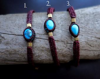 Petite Turquoise Macrame Bracelet   Maroon Band   Stone of Purification   Unisex