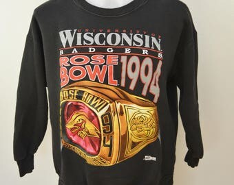 Vintage Wisconsin BADGERS Rose Bowl Sweatshirt 1994 University of WISCONSIN large