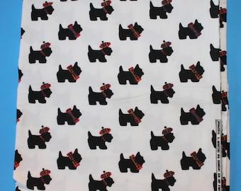 Cotton Fabric Remnant, Scottie Dog Fabric