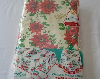 Vintage JINGLE BELLS Christmas TABLECLOTH made in usa 1970's 52 x 70 nwt