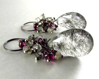 Rutilated Quartz With Rhodolite Garnet Wire Wrapped Earrings