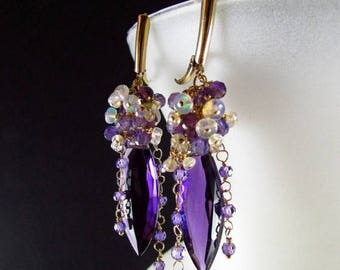 25 OFF Amethyst With Ethiopian Opal And Purple Zircon, Luxe Amethyst Earrings, Amethyst Clusters