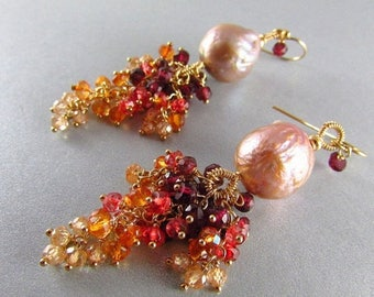 25 OFF Kasumi Like Pearls With Garnet, Quartz and Natural Zircon Gold Filled Earrings