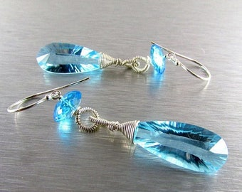 25 OFF Sky Blue Quartz With Sterling Silver Wire Wrapped Earrings
