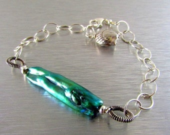 25 OFF Peacock Green Biwa Pearl With Sterling Silver Bracelet