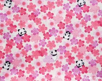 Kimono Japanese Fabric - Sakura Pandas on Pink - Half Yard - (u170618)