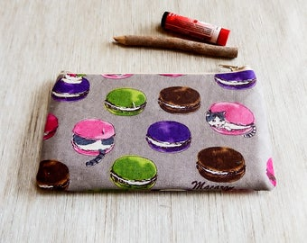 Cat Macarons Pouch, Cat Zipper Case, Macaron Fabric Zipper Pouch, Fabric Zipper Pouch, Change Pouch, Gift for Her, Gift, Grad Gift