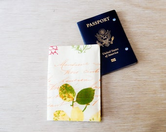 Passport Wallet, Fabric Passport Cover, Leaves and Text Fabric Passport Cover, Passport Holder, Travel Grad Gift, Fabric Passport Wallet