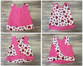 Valentine's Day Outfit - Baby Girl - Red Pink Hearts - Dress Top Shirt Reversible Pinafore -