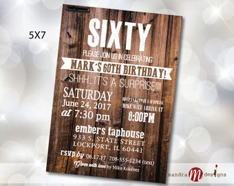 30th, 40th, 50th, 60th, 70th, 80th Birthday Party Invite House Party Rustic Wood Country Music Invitation