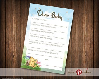 Classic Winnie the Pooh Baby Shower Dear Baby Note