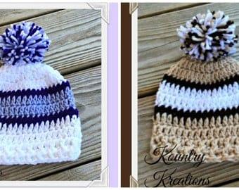 Tri Color Crochet Baby Hat, Newborn Baby Beanie, Baby Crochet Hat, Infant Baby Hat, Baby Hat, Crochet, Handmade, Preemie (Ready to Ship)