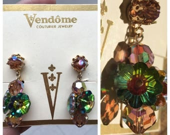 Stunning Vendome Crystal Earrings on Original Card with Original Price Tag