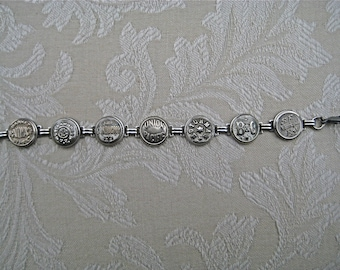 SILVER  RAILROAD  BUTTON  Bracelet