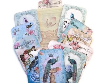 Bird Scrapset Paris Ephemera,French Tags-Junk Journal- Stamped Muslin Bag-Destash- French Vintage-Bird Lover-French Album-Art Scrapbooking