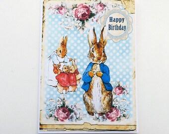 Peter Rabbit Birthday Card, Bunny Rabbit Card, Children Birthday Rabbit Greeting Card, Beatrix Potter First Birthday Card-Australia