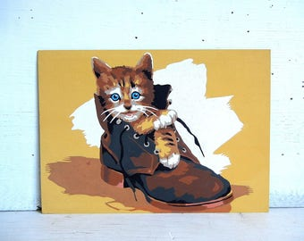 Vintage Kitten Paint By Number Painting | Kitten in a Leather Boot | Cat Painting | Kitty PBN | Cat Paint By Number Painting