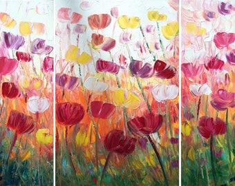 FLOWERS Large Painting TULIPS Original Artwork 48x36 Impasto Textured Canvas by Luiza Vizoli