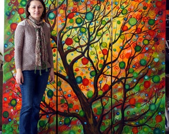 HUGE Painting Seasons of Joy Original Painting Large Canvases Made to Order