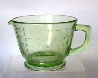 Hocking Green Depression Glass 2Cup Measuring Cup Footed 1930's Kitchen Cooking