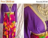 reserved for L ~ON SALE 60s Dress //  Vintage 1960's 1970's Purple & Wild Print Maxi Dress with Gold Accent Size M 29 waist colorful