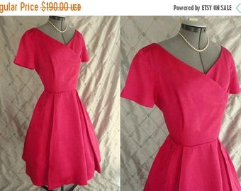 "ON SALE 60s Dress // L //  Vintage 1960s Hot Pink Satin Dress with Full Skirt by Miss Couture Size L 30"" waist"