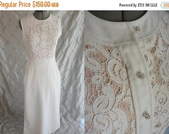 "ON SALE 60s Dress //  Vintage 1960s White Linen and Lace Maxi Dress Size M 27"" waist Illusion Top Wedding"