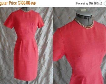 "ON SALE 50s 60s Dress //  Vintage 50s 60s Orange Melon Wiggle Dress Size S 25"" waist metal zipper"