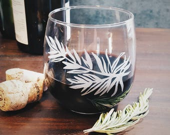 Rosemary Etched Stemless Wine Glass | Whiskey Glass | Bridesmaid Gift | Kitchen Decor | Housewarming Gift | Wedding Glasses