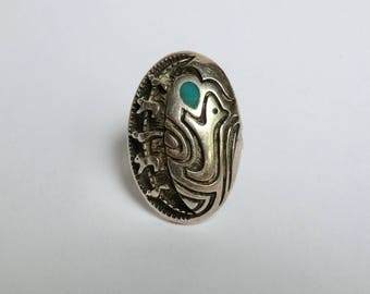 Vintage Native American Fetish Symbol Ring Sm Turquoise Inlay Size 6.5