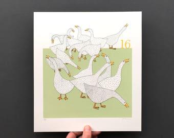 Sixteen Geese - Original Artwork from Counting Birds