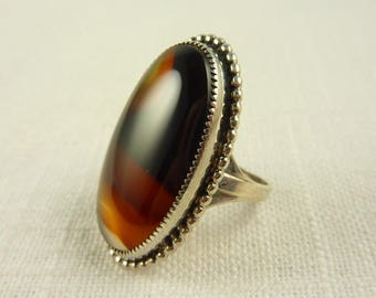 Size 8 Vintage Sterling Agate Rhodium Plated Ring