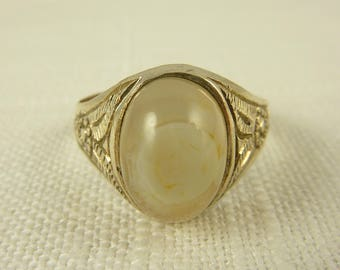 Size 12 Vintage Handmade Engraved Sterling and Agate Ring