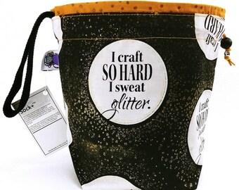 Small Knitting  Crochet Project Bag - Sweat Glitter