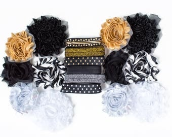 Gold Mime : Silver + Gold + Black DIY Headband Kit | 6 or 12 Headbands | Chiffon Flower FOE Fold Over Elastic | Parties & Baby Showers
