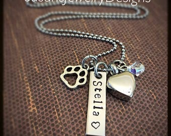 Pet Heart Urn Necklace - stainless steel 1 sided rectangle disc & heart urn and chain - Swarovski crystal - paw print charm - custom wording