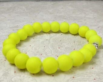 SALE, 50%, Neon yellow rubber beaded bracelet on stretch cord, stretchy bracelet, yellow bracelet, neon yellow