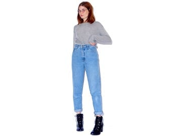 super flattering tapered mom jeans / womens small 26 27 waist / high waisted jeans tapered jeans mom jeans 90s jeans 90s clothing