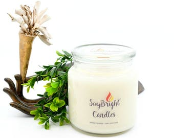 SoyBright™ Kentucky Bourbon All Natural Soy Wax Apothecary Jar Wooden Wick Candle | Eco-Friendly | Hand Poured | No Phthalates - 16 oz