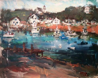 Harbor Village painting as seen in demo on You Tube by Russ Potak